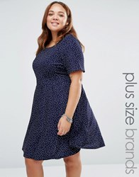 Yumi Plus Dress With Tie Back In Polka Dot Print Navy