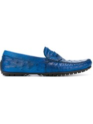 Dolce And Gabbana Ostrich Leather Driving Shoes Blue