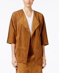 Alfani Petite Faux Suede Perforated Draped Jacket Only At Macy's Vintage Suede