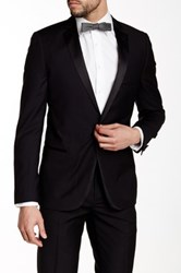 Paisley And Gray Black Slim Fit Notch Lapel Scallop Tuxedo Jacket