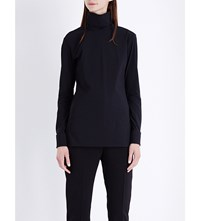 Jil Sander Turtleneck Fitted Crepe Top Black