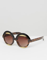 Monki Round Retro Sunglasses Tortoise Brown
