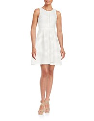 Chetta B Embroidered Pleated Dress White