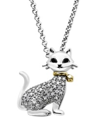 Macy's Cat Pendant Necklace In 14K Gold And Sterling Silver 1 8 Ct. T.W.
