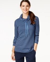 American Living Cowl Neck Striped Pullover Top Only At Macy's Seneca Lake Capri Navy