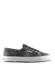Superga Snake Print Lace Up Sneakers Black Grey