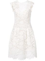 Monique Lhuillier Flared Lace Dress White