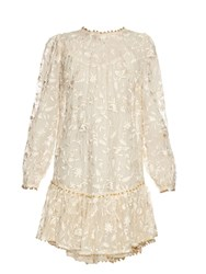 Zimmermann Master Drop Waisted Embroidered Dress Cream