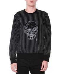 Alexander Mcqueen Contrast Stitch And Skull Crewneck Sweater Black White