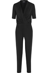 Tart Collections Murni Faux Leather Trimmed Wrap Effect Stretch Modal Jersey Jumpsuit Black