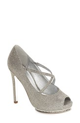 Adrianna Papell Women's 'Golda' Peep Toe Crystal Embellished Platform Pump Steel Fabric