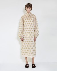 Simone Rocha Star Flower Embroidery Dress Gold Nude