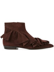 J.W.Anderson Ruffle Detail Boots Brown