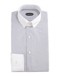 Tom Ford Tailored Fit Graph Check Dress Shirt Blue