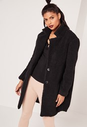 Missguided Petite Teddy Sherling Wool Coat Black