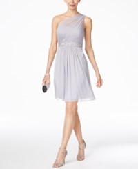 Adrianna Papell One Shoulder Embellished Dress Silver