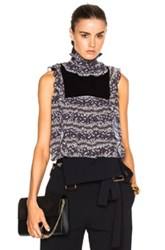 See By Chloe Sleeveless Ruffle Neck Top In Black Gray Floral Black Gray Floral
