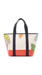 Tory Burch Leaf Applique Canvas Zip Tote Natural