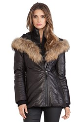 Mackage Ingrid Jacket With Natural Asiatic Raccoon Fur Black