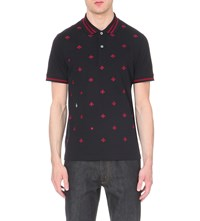 Gucci Bee Embroidered Cotton Polo Shirt Navy Red