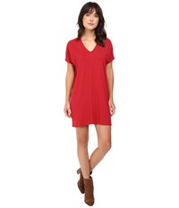 Lilla P Stretch Jersey Short Sleeve V Neck Dress Garnet Women's Dress Red