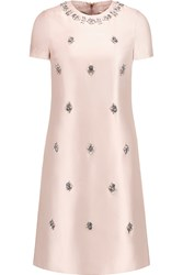 Tory Burch Kirby Embellished Silk Satin Dress Pink