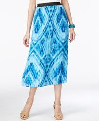 Ny Collection Printed Pull On Pleated Midi Skirt Ocean Cree