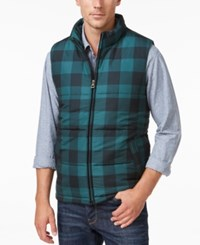 Weatherproof Vintage Men's Big And Tall Plaid Puffer Vest Green Buffalo