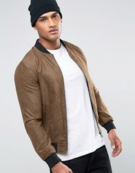 Brave Soul Faux Suede Bomber Jacket Brown