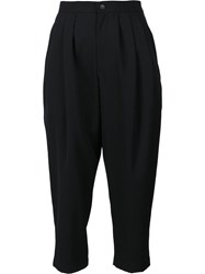Comme Des Garcons Pleated Cropped Trousers Black
