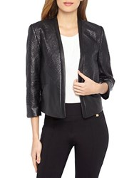 Tahari By Arthur S. Levine Plus Embroidered Faux Leather Jacket Black