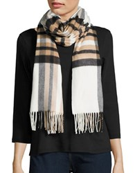 Lord And Taylor Plaid Blanket Wrap Scarf Ivory