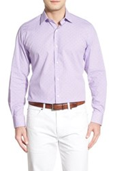 Tailorbyrd 'Oleander' Regular Fit Dobby Check Sport Shirt Big And Tall Purple