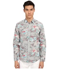 Marc Jacobs Mellow Meadow Slim Button Up Grey Multi Men's Long Sleeve Button Up Gray