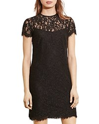 Ralph Lauren By Scalloped Lace Overlay Dress Black