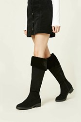 Forever 21 Faux Suede Fold Over Boots Black