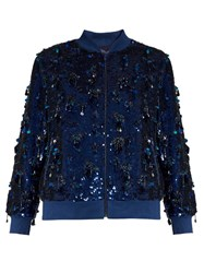 Ashish Sequin Embellished Silk Bomber Jacket Navy