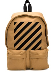 Off White Striped Backpack Nude And Neutrals