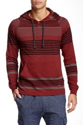 Micros Breach Striped Hoodie Red