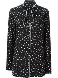 Dolce And Gabbana Polka Dot Print Pyjama Shirt Black