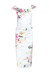 Jolie Moi Floral Print 40S Wiggle Dress Cream