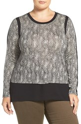 Michael Michael Kors Plus Size Women's Woven Hem Textured Scale Print Top