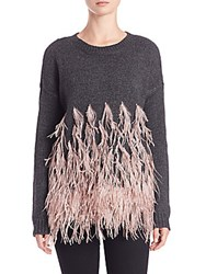 Elizabeth And James Long Sleeve Feather Pullover Charcoal