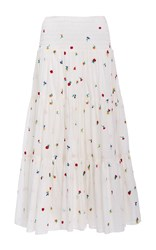 Suno Embroidered Smocked Maxi Skirt White