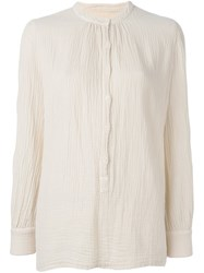 Raquel Allegra Band Collar Blouse Nude Neutrals