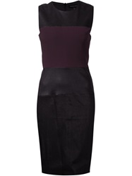 Narciso Rodriguez Leather Panel Dress Pink And Purple