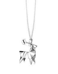 Origami Sterling Silver Deer Pendant Necklace