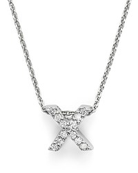 Roberto Coin 18K White Gold Initial Love Letter Pendant Necklace With Diamonds 16 X