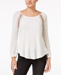 Miss Me Mixed Stitch Embroidered Peplum Sweater Off White