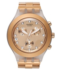 Swatch Unisex Swiss Chronograph Full Blooded Rose Gold Tone Bracelet Watch 43Mm Svck4047ag
